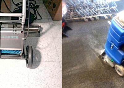 Olika maskiner som rengör entrémattor